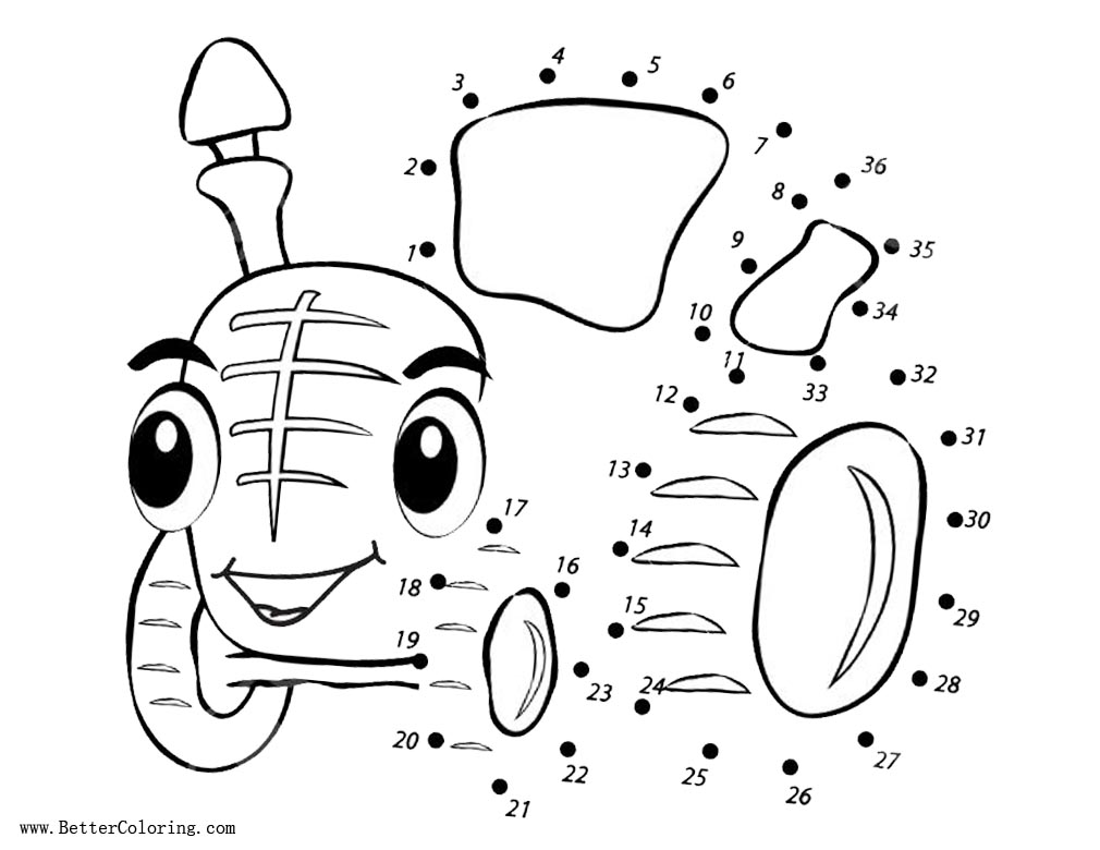 Free Tractor Coloring Pages Connect the Dots by Number Activity printable