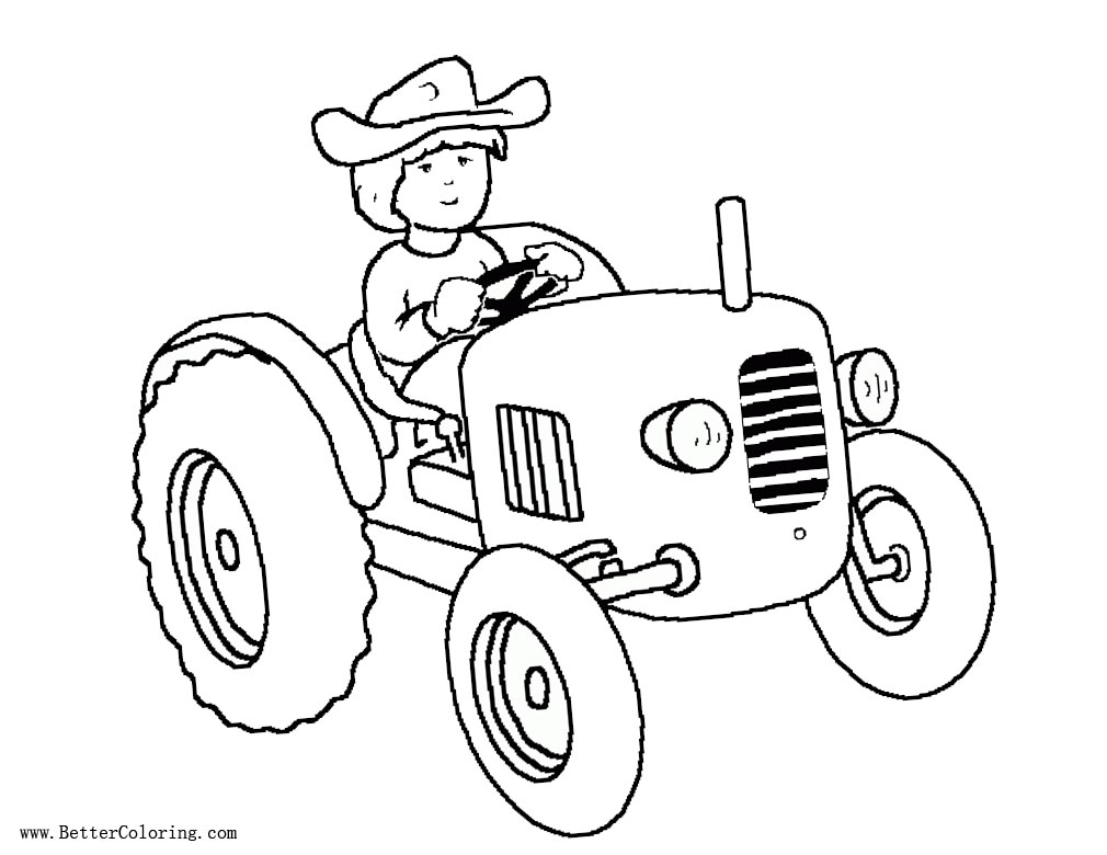 Free Tractor Coloring Pages Kids Driving A Tractor printable