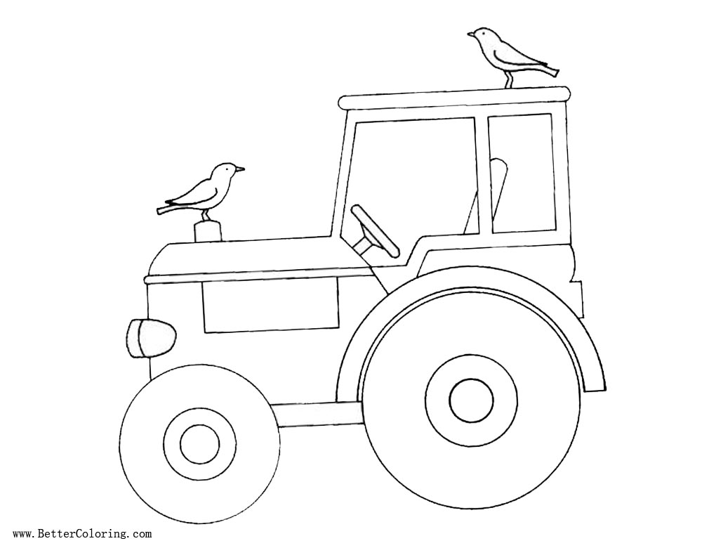 Tractor Coloring Pages With Two Birds