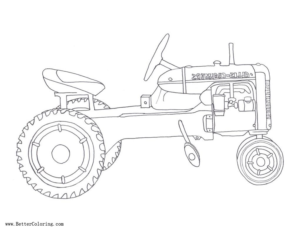Free Tractor coloring pages Line Art printable
