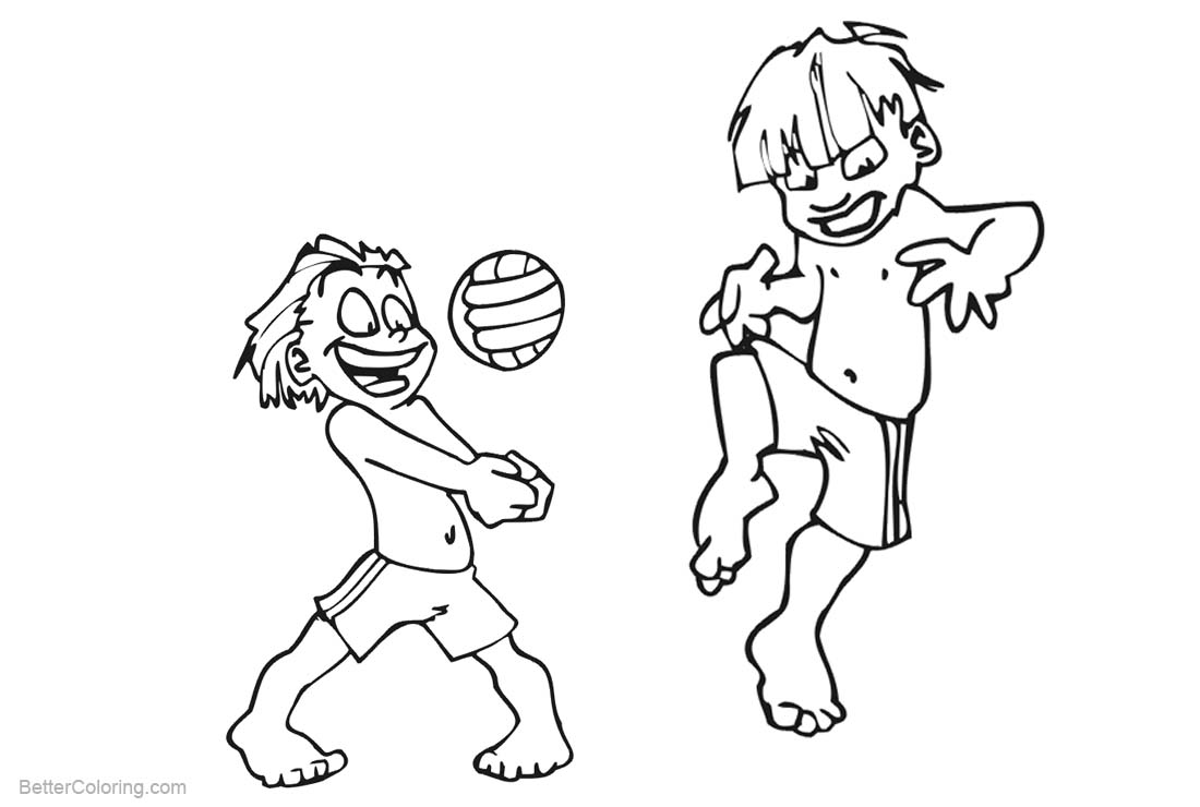 Free Two Boys Playing Beach Ball Coloring Pages printable