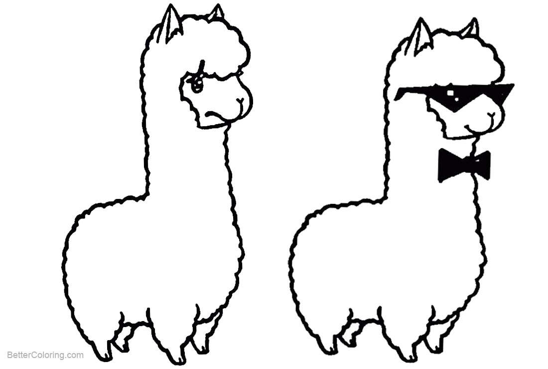 Two Llamas Coloring Pages - Free Printable Coloring Pages