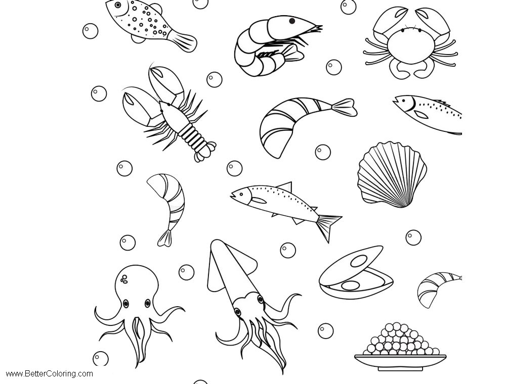 Under The Sea Coloring Pages Crab Fish And Other Creatures Free - Coloring-pages-crab