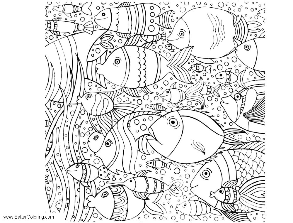 Free Under The Sea Coloring Pages Fishes printable