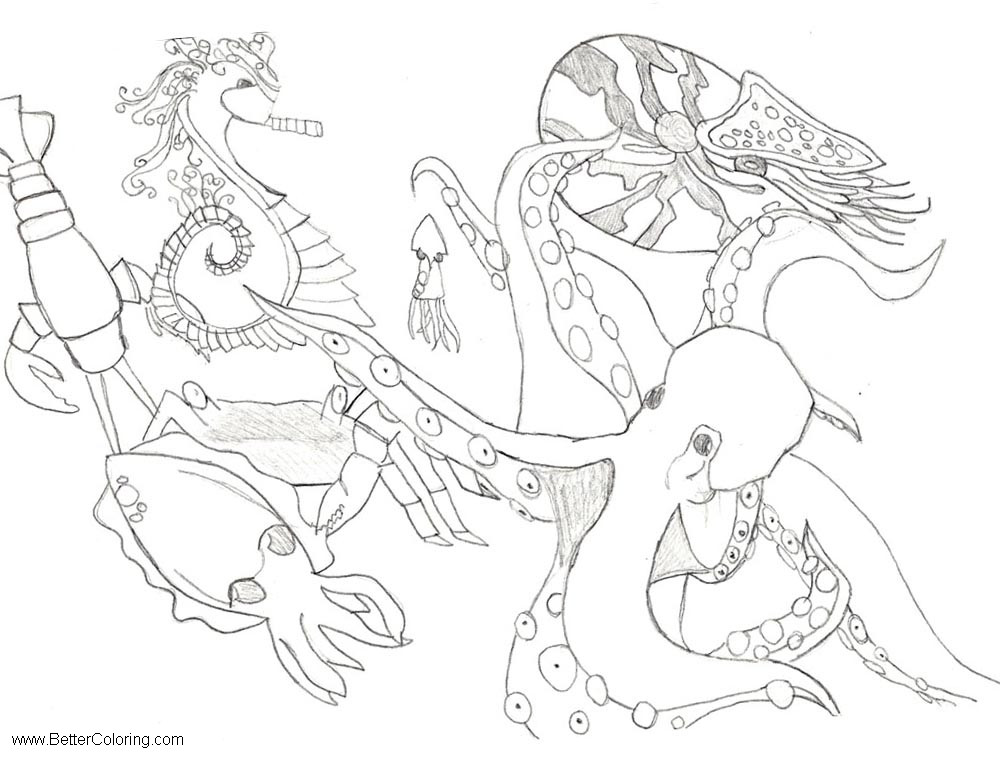 Free Under The Sea Coloring Pages Sea Life by Cannonproductions printable