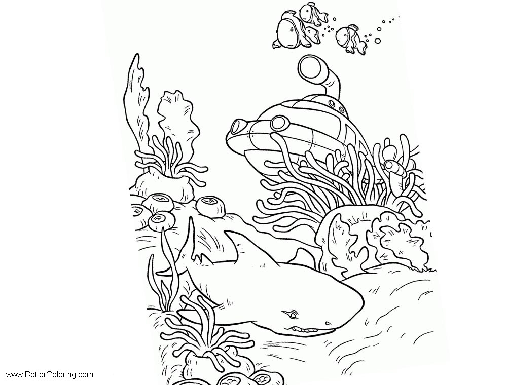 Under The Sea Coloring Pages Shark and Submarine - Free