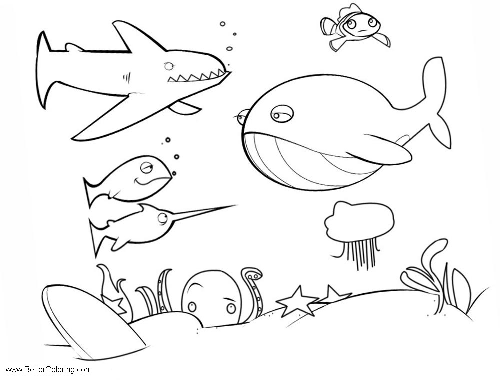 Under The Sea Coloring Pages Simple
