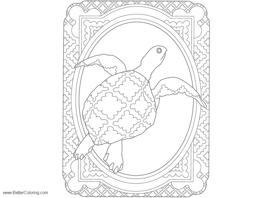 Free Under The Sea Coloring Pages Turtle Pattern printable