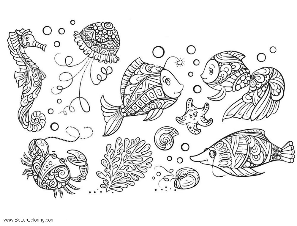 Free Under The Sea Coloring Pages for Adults printable