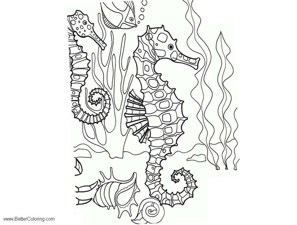Free Under The Sea Horse Coloring Pages printable