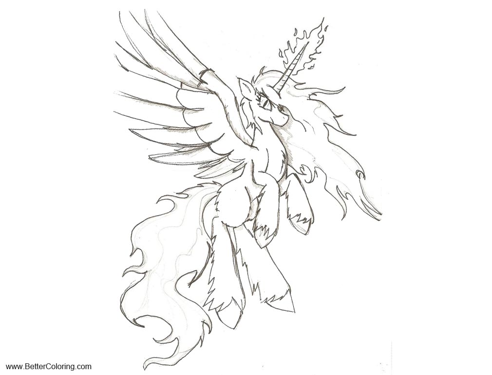 Free Unity Alicorn Coloring Pages sketch by Zubias printable