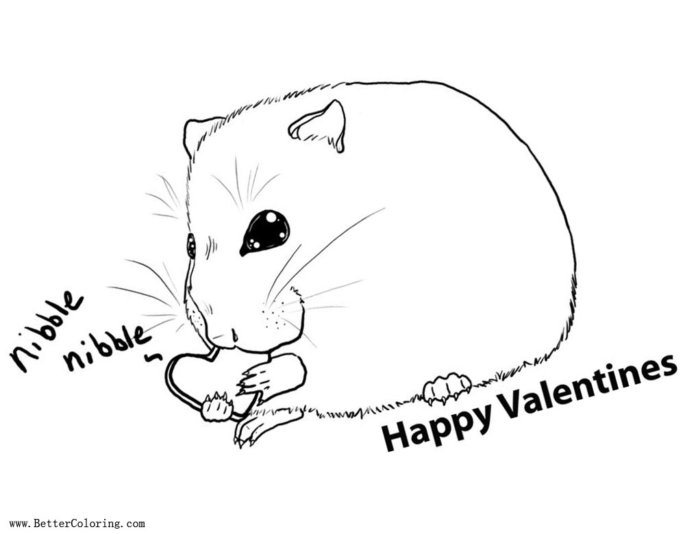 Free Valentines Hamster Coloring Pages by girlonwantedposters printable