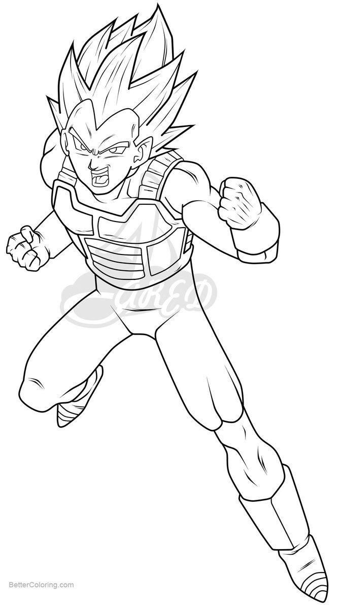 Free Vegeta Coloring Pages Line Art by jareds printable