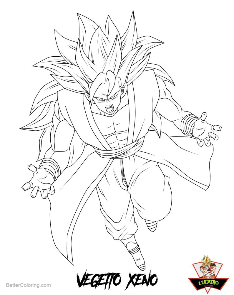 Free Vegetto Coloring Pages Xeno SSJ3 LINEART by lucario strike printable