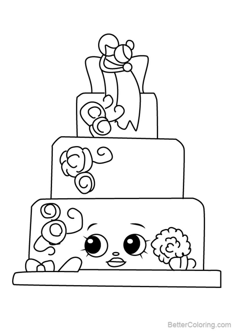 Wendy Wedding Cake From Shopkins Coloring Pages Free