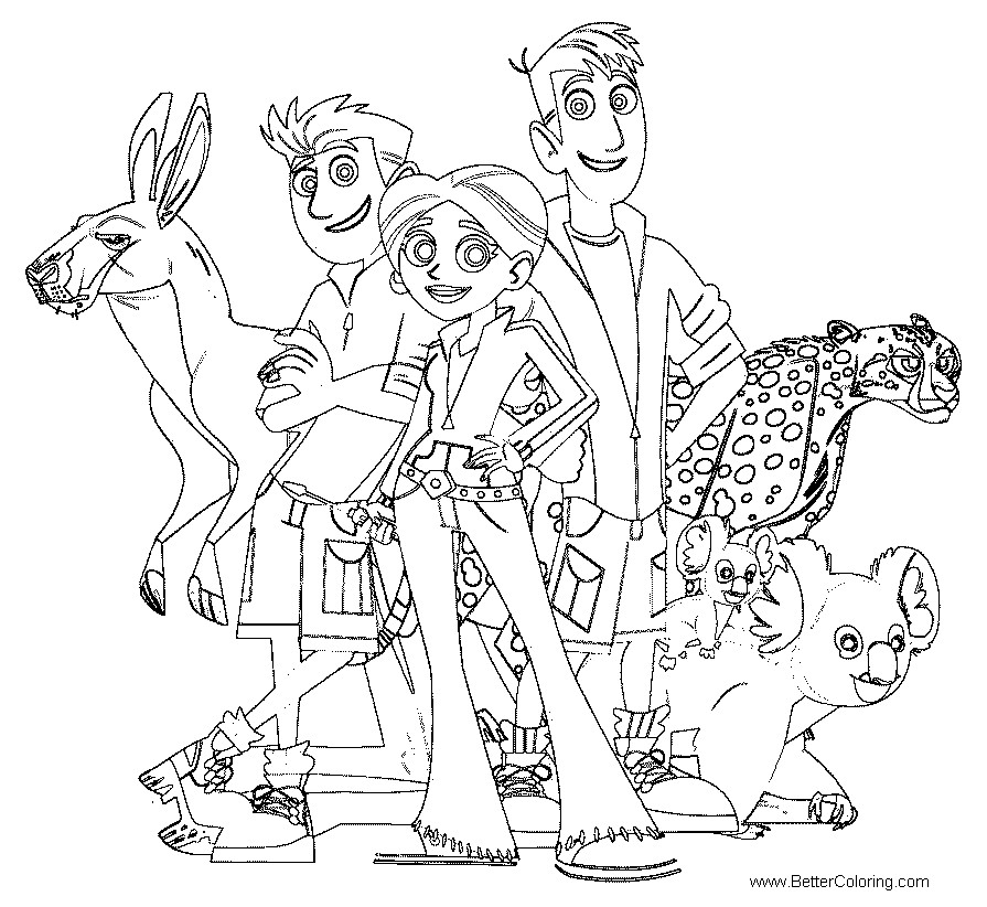 Free Wild Kratts Coloring Pages Characters and Animals printable