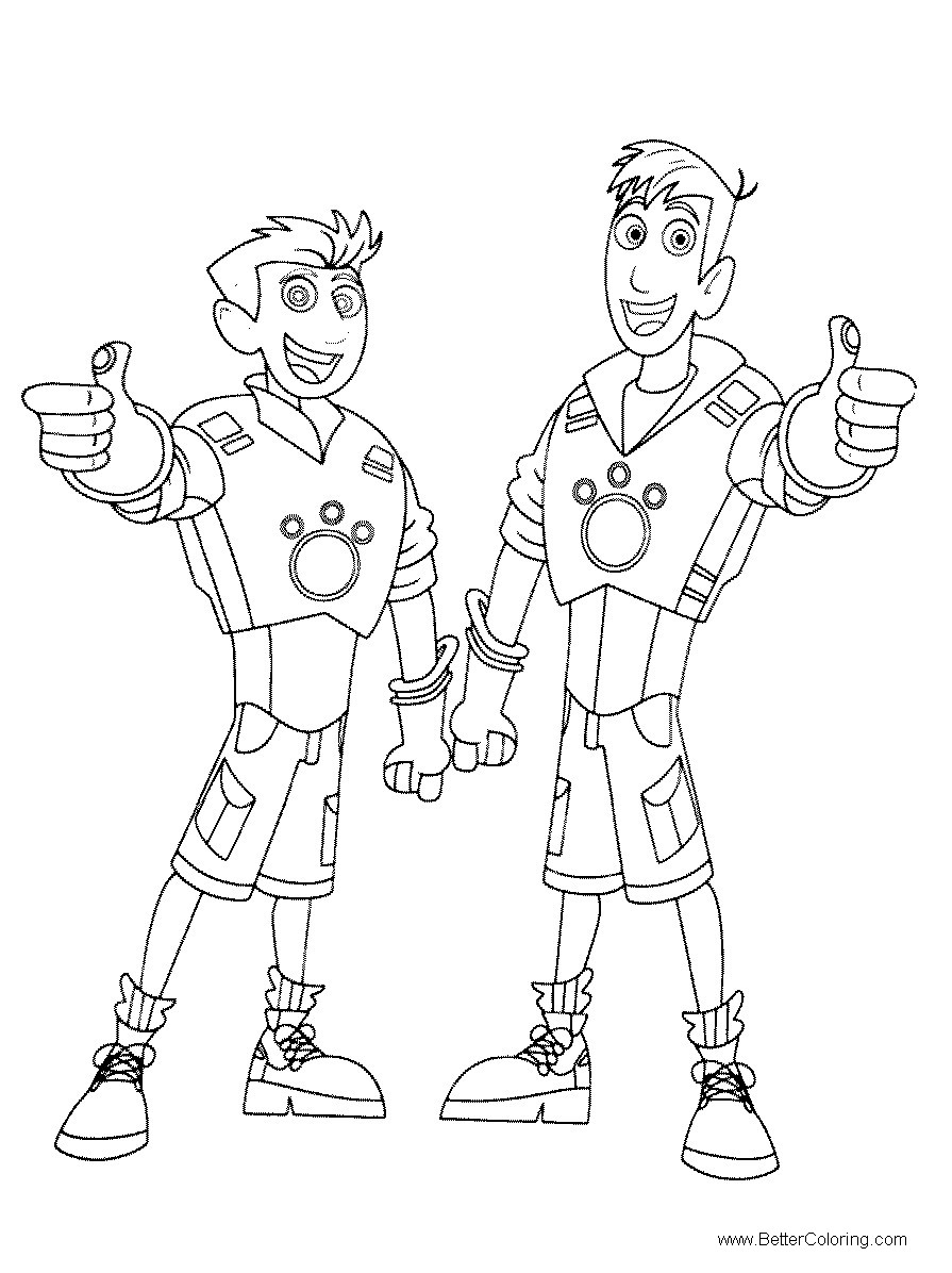 Free Wild Kratts Coloring Pages Line Drawing printable