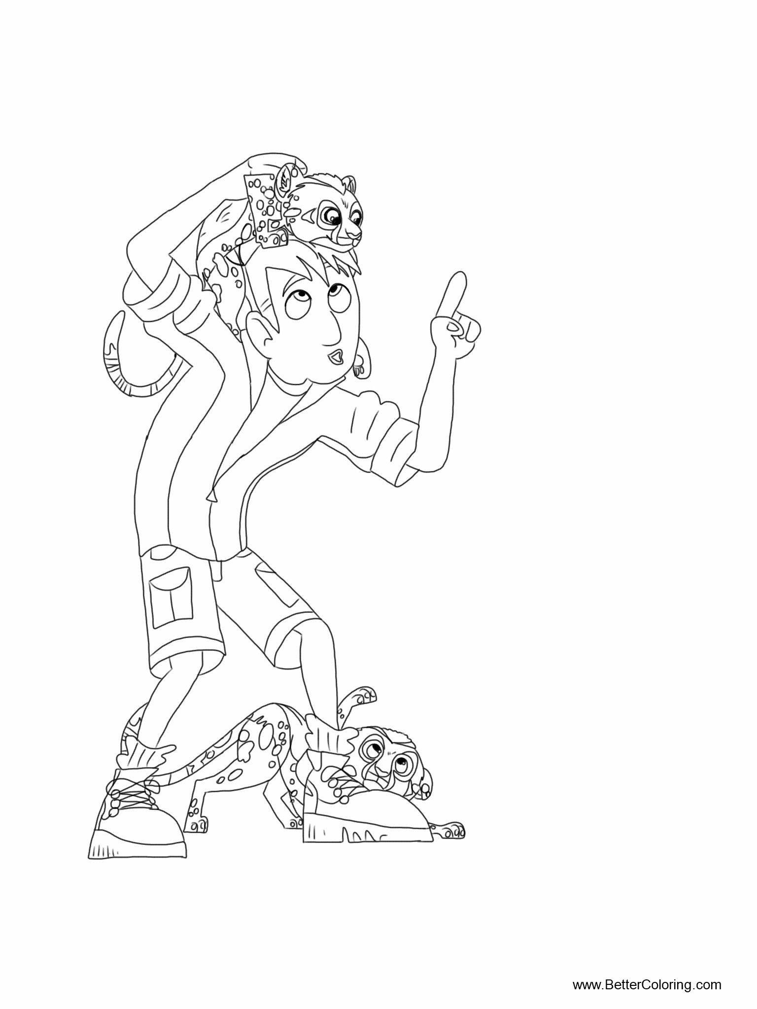 Free Wild Kratts Coloring Pages with Cheetah printable