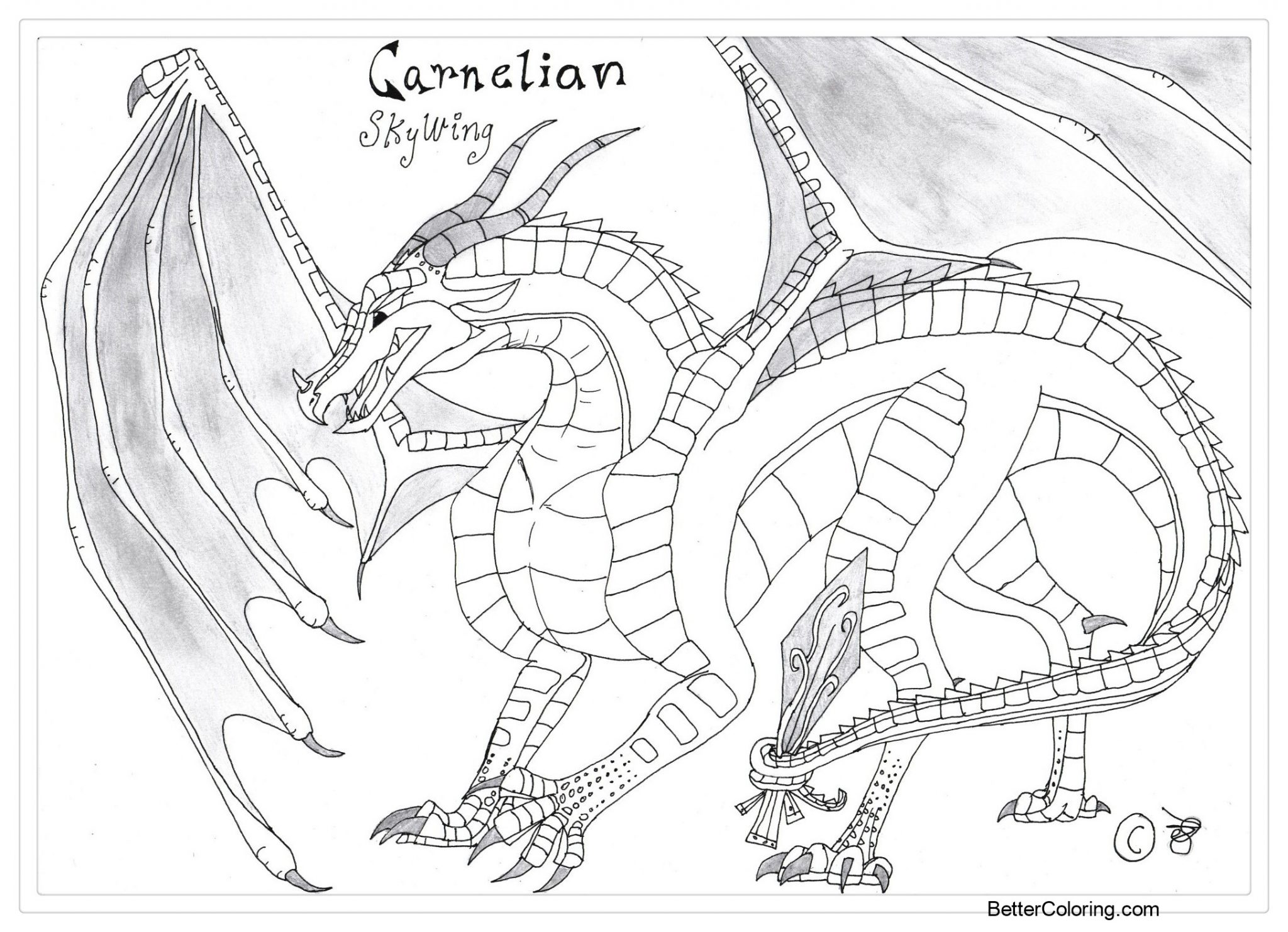 Free Wings of Fire Coloring Pages Carnelian in Jade Winglet by RhynoBullraq printable