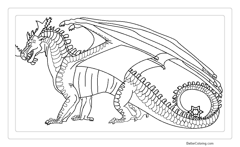 Free Wings of Fire Coloring Pages DreamWing Lineart printable
