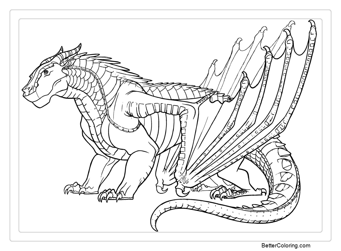 Wings Of Fire Ice Wing Dragon Coloring Pages