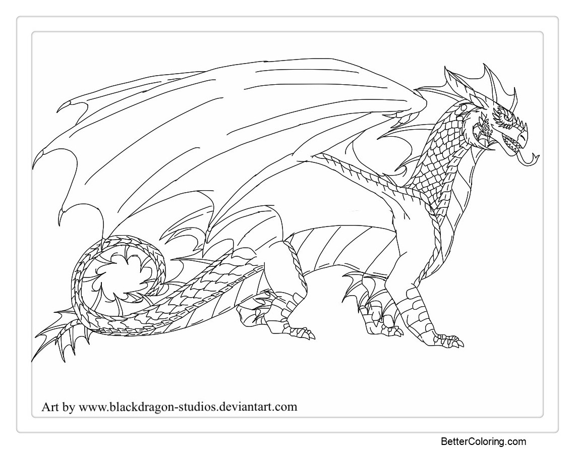 Free Wings of Fire Coloring Pages StormWing Tribe lineart by BlackDragon-Studios printable