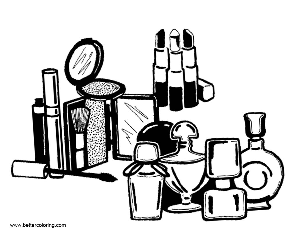 Accessories Of Makeup Coloring Pages