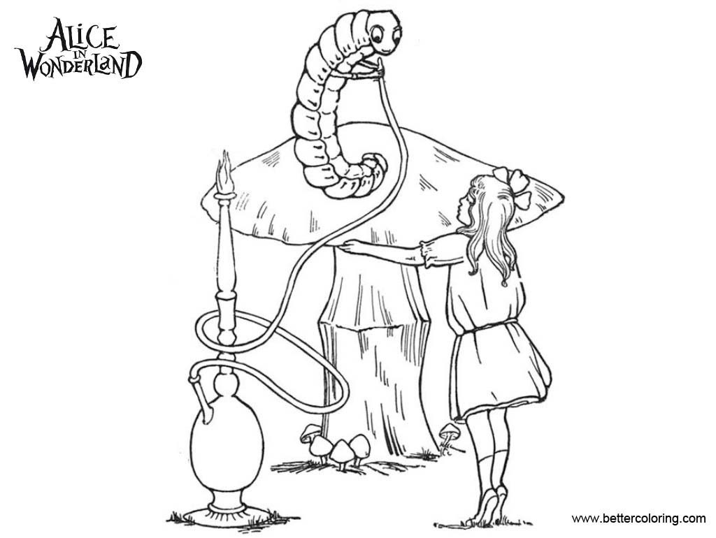 Free Alice In Wonderland Caterpillar Coloring Pages printable