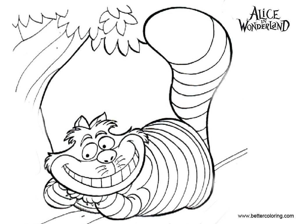 Free Alice In Wonderland Cheshire Cat Coloring Pages On the Tree printable