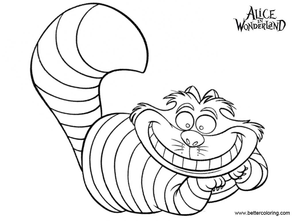 Alice In Wonderland Cheshire Cat Coloring Pages - Free Printable ...