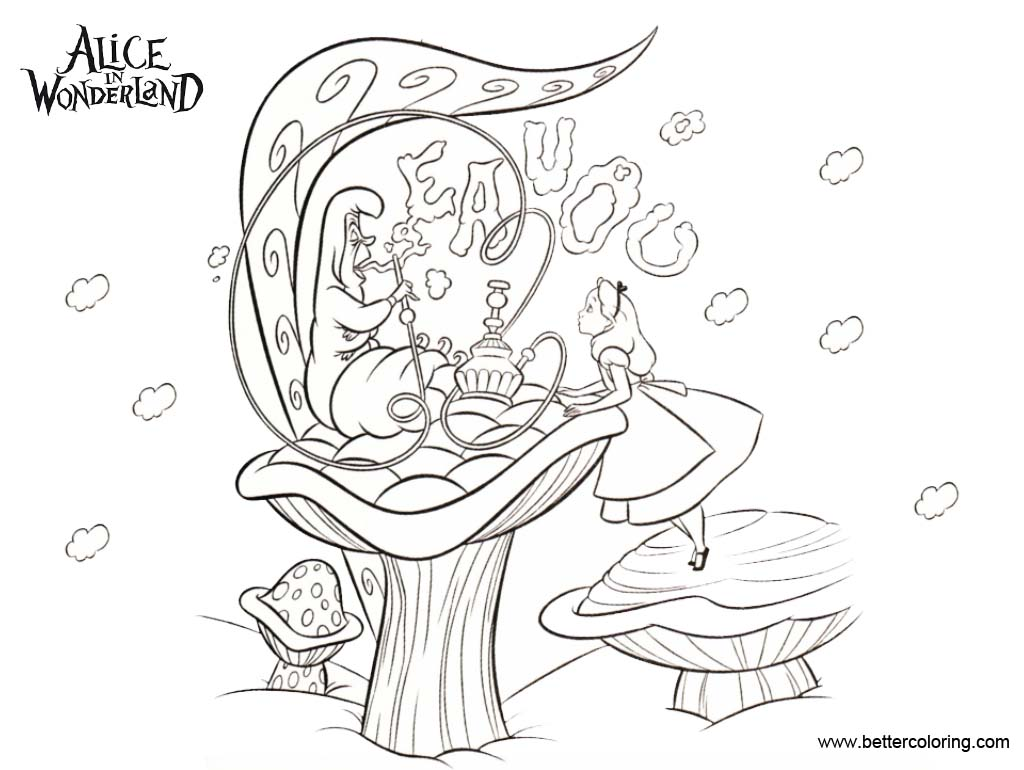 Free Alice In Wonderland Coloring Pages Caterpillar Asked Alice Who She is printable