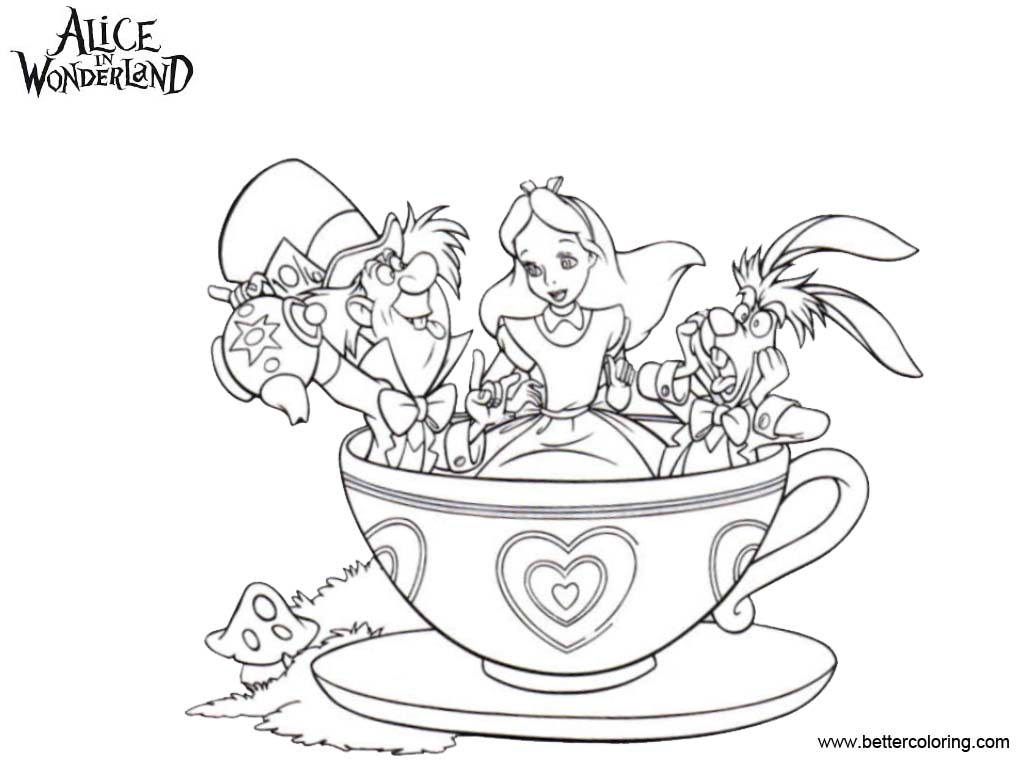 Free Alice In Wonderland Coloring Pages Tea Party printable