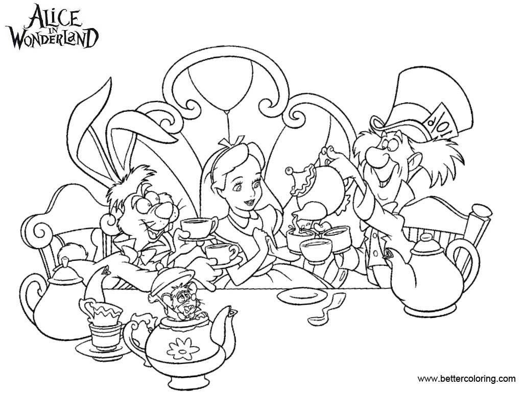 Alice In Wonderland Tea Party Coloring Pages Black and White - Free ...