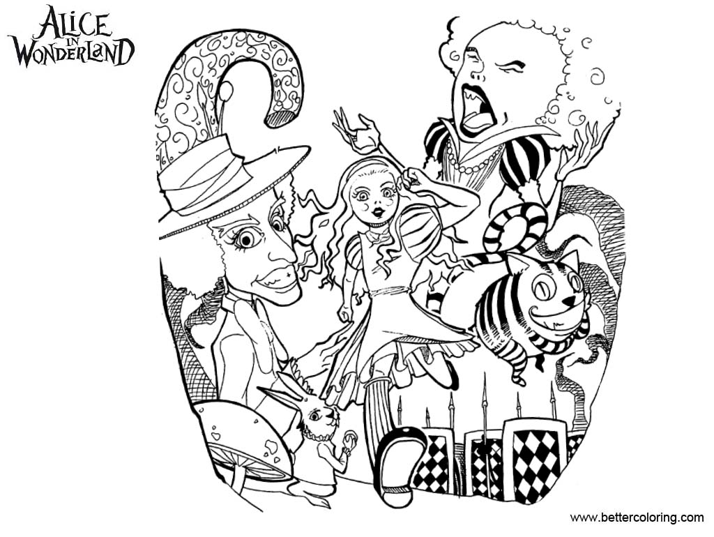 Free Alice In Wonderland Tea Party Coloring Pages Clip Art printable