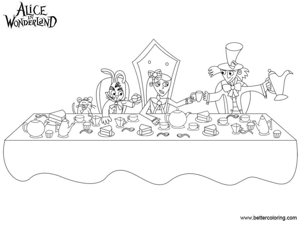 Free Alice In Wonderland Tea Party Coloring Pages Line Art printable