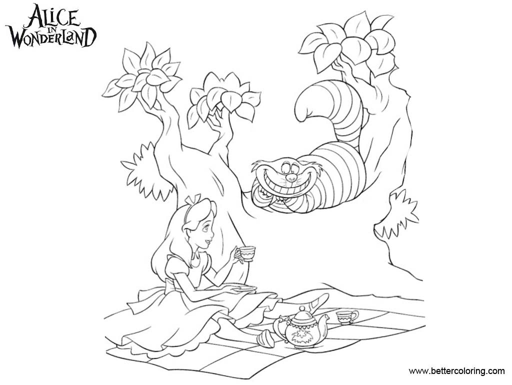 Alice in wonderland tea party coloring pages line drawing for Alice in wonderland tea party coloring pages