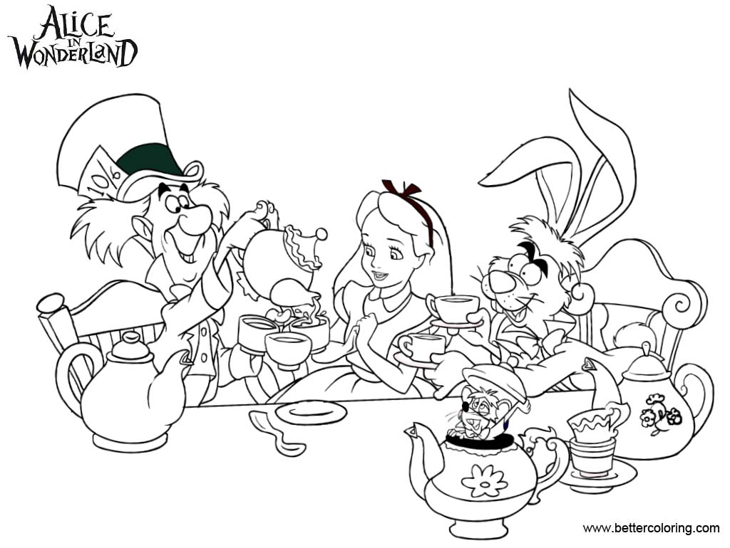 Alice in wonderland tea party coloring pages free for Alice in wonderland tea party coloring pages