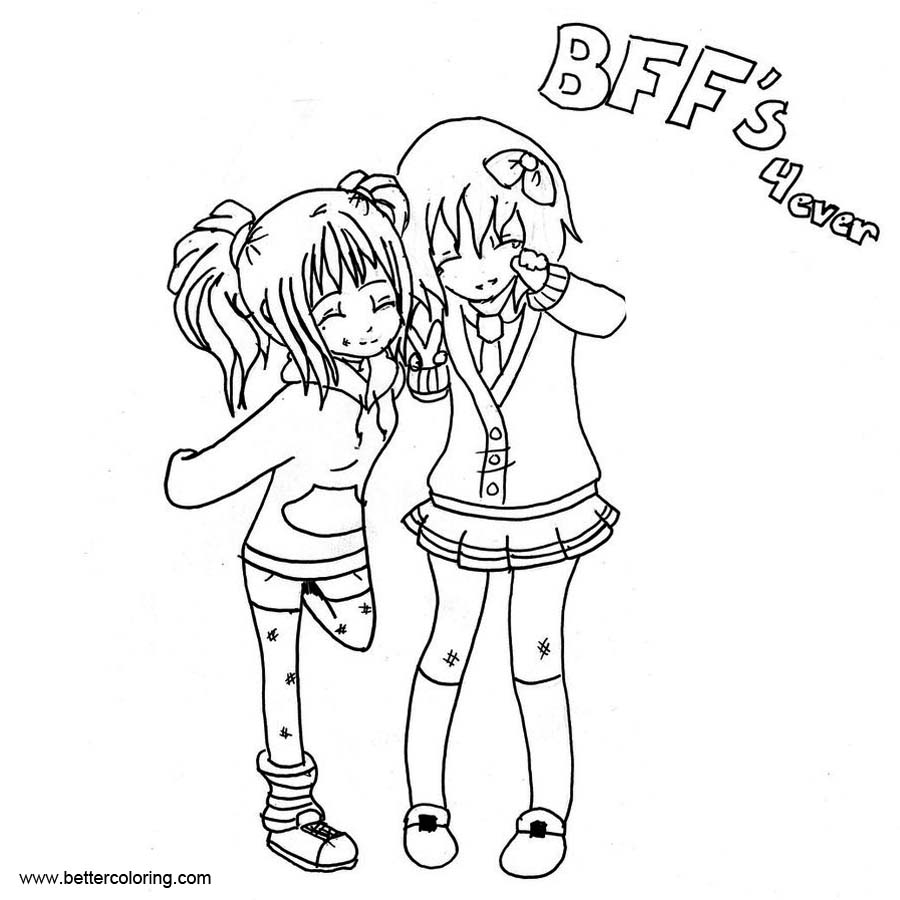 BFF Coloring Pages Girls - Free Printable Coloring Pages