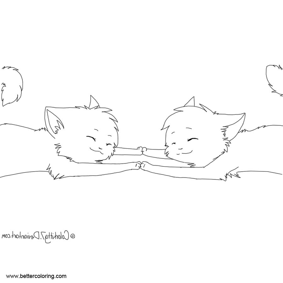 Free BFF Coloring Pages Kitty by Snow Berries printable