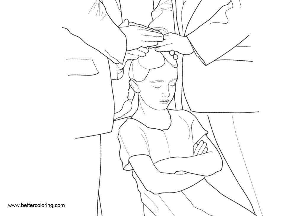 Free Baptism Coloring Pages Girl Eyes Closed printable