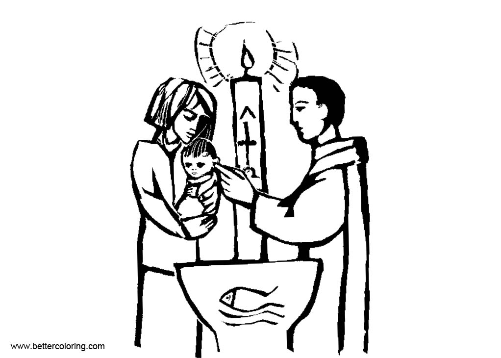 Free Baptism Coloring Pages Godparent and Child printable