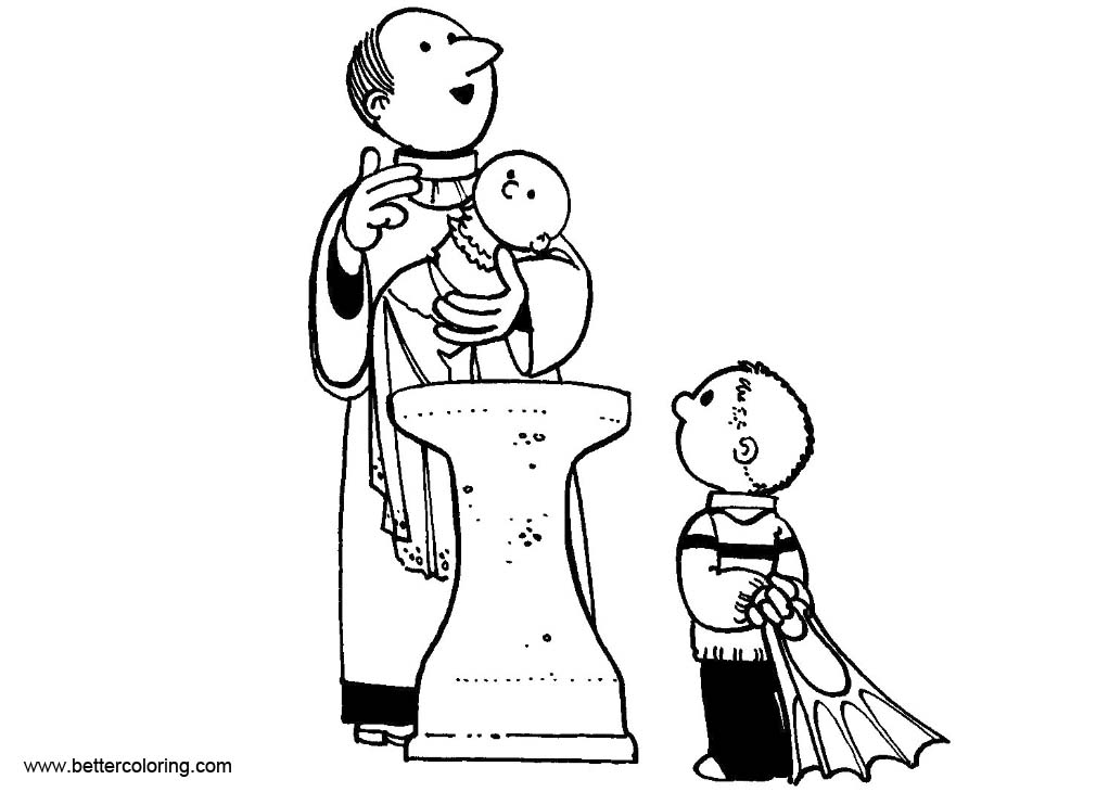 Free Baptism Coloring Pages Two Kids printable