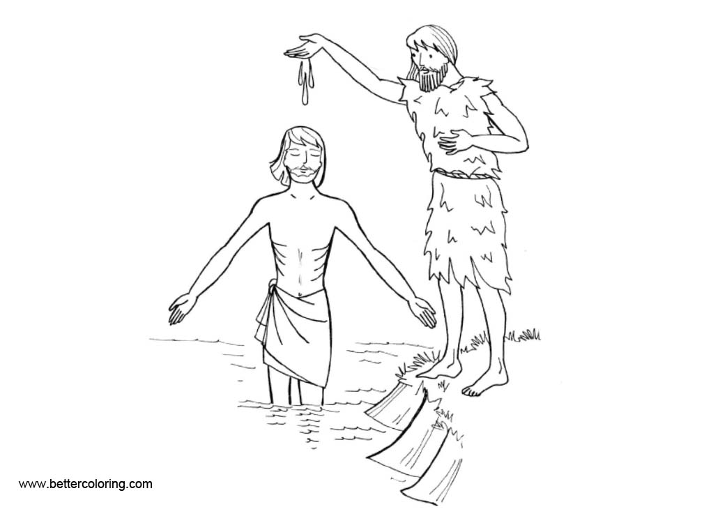 Free Baptism Coloring Pages in the River printable
