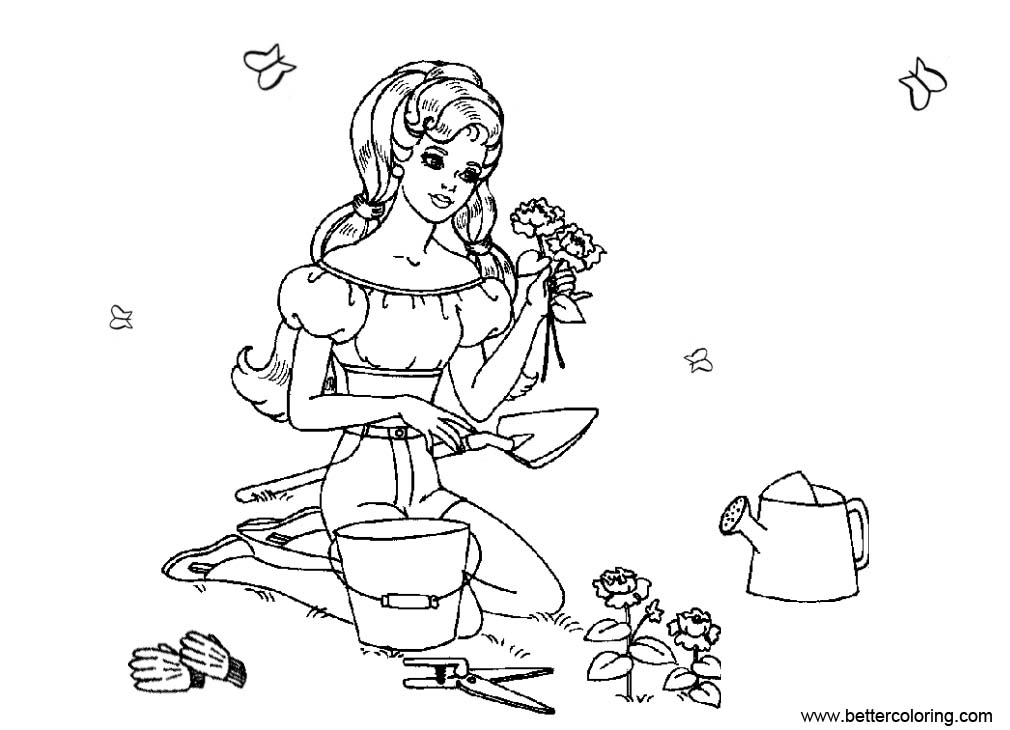 Free Barbie Garden Coloring Pages printable