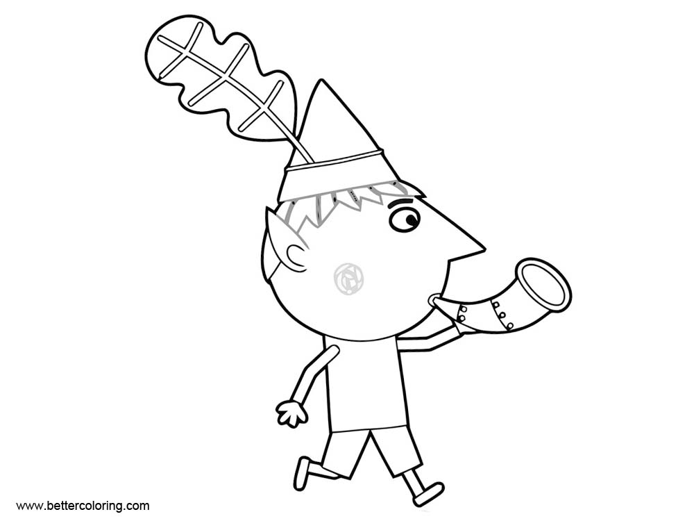 Ben And Holly Coloring Pages Ben Play Horn Free Printable Coloring