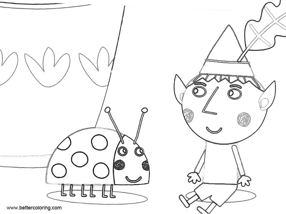 Free Ben And Holly Coloring Pages Ben with Ladybug printable