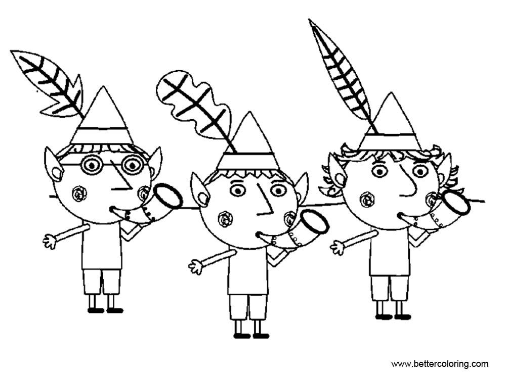 Free Ben And Holly Coloring Pages Black and White printable