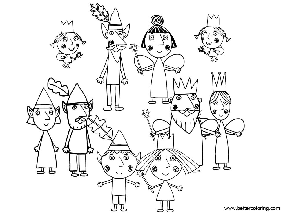 Free Ben And Holly Coloring Pages Characters printable