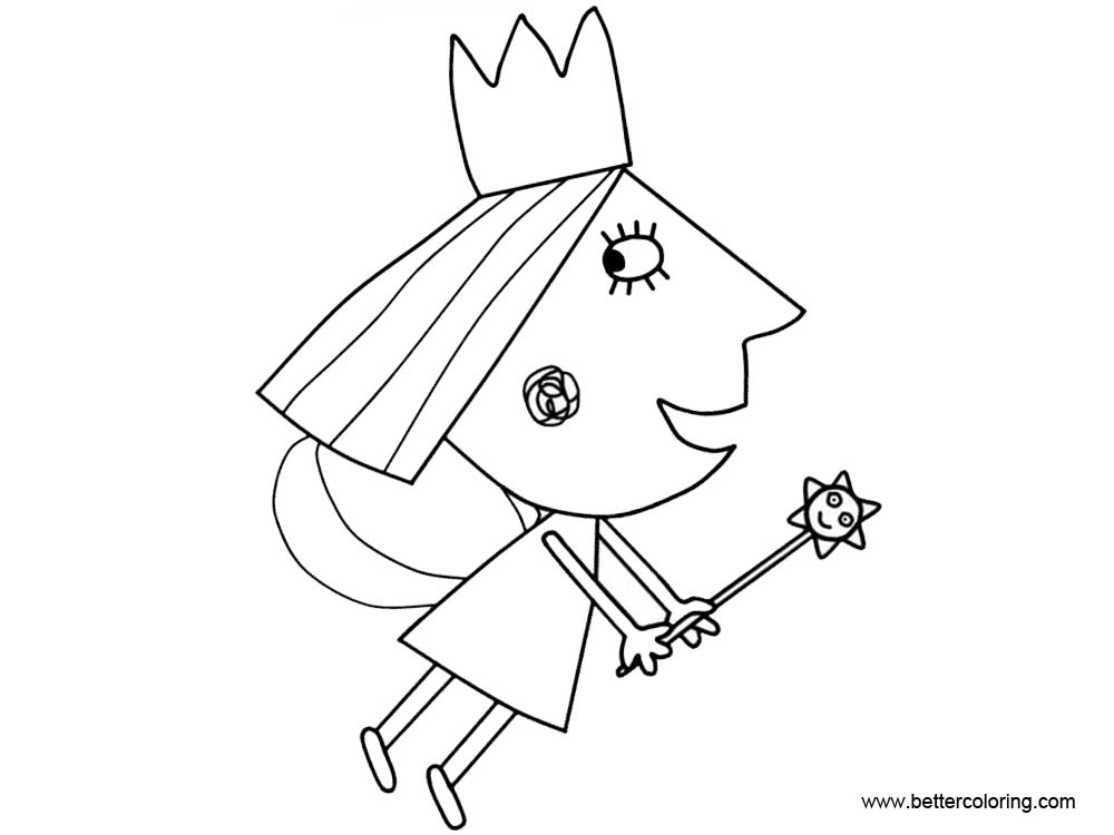 Free Ben And Holly Coloring Pages Flying printable