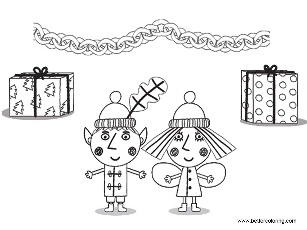 Free Ben And Holly Coloring Pages Line Art printable